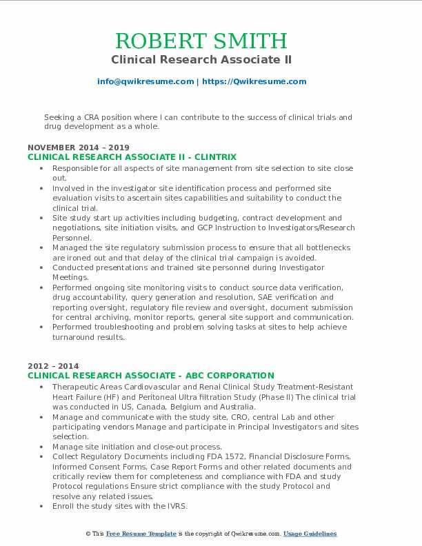 Clinical Research Associate II Resume Format