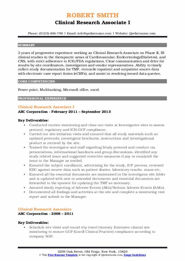 Clinical Research Associate I Resume Format
