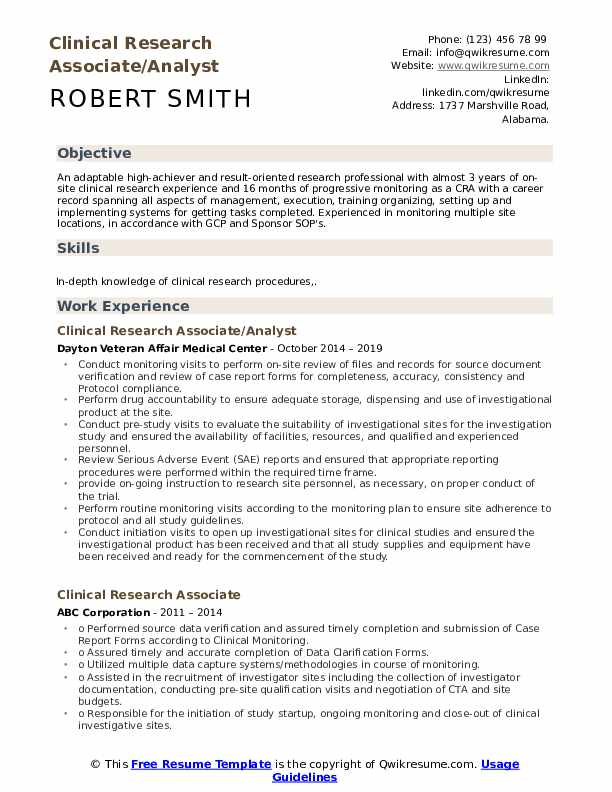 Clinical Research Associate/Analyst Resume Sample
