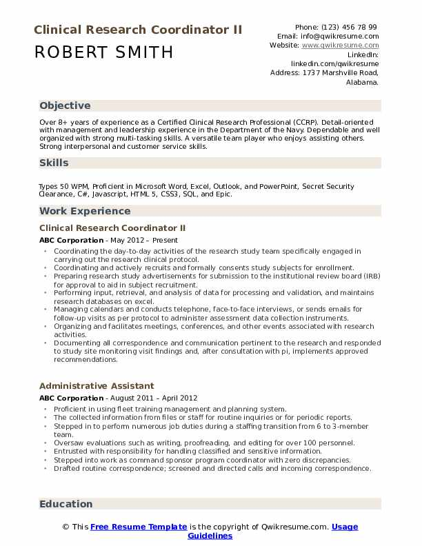 Clinical Research Coordinator II Resume Example