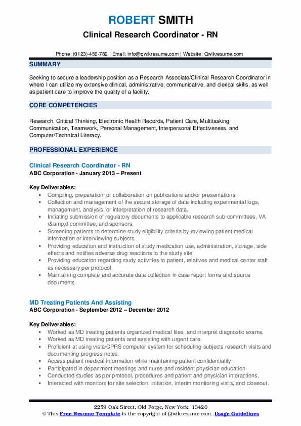 Clinical Research Coordinator - RN Resume Example