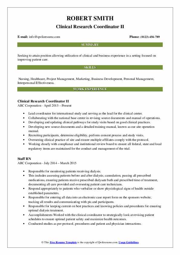 Clinical Research Coordinator II Resume Format