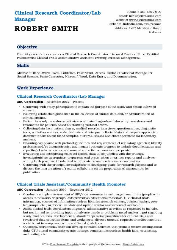Clinical Research Coordinator/Lab Manager Resume Sample