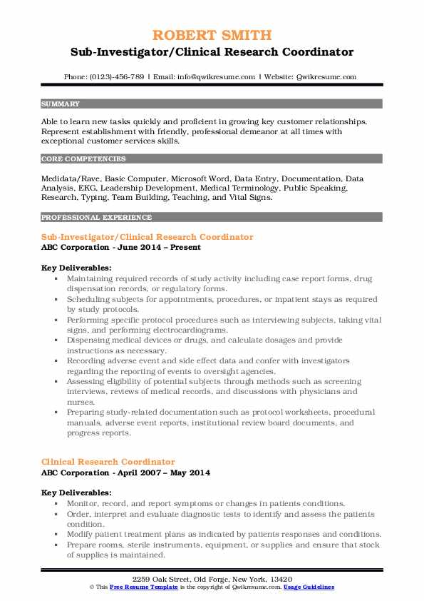 Sub-Investigator/Clinical Research Coordinator Resume Format