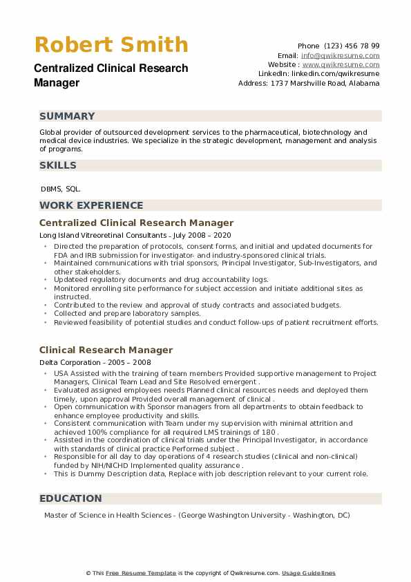Clinical Research Manager Resume example