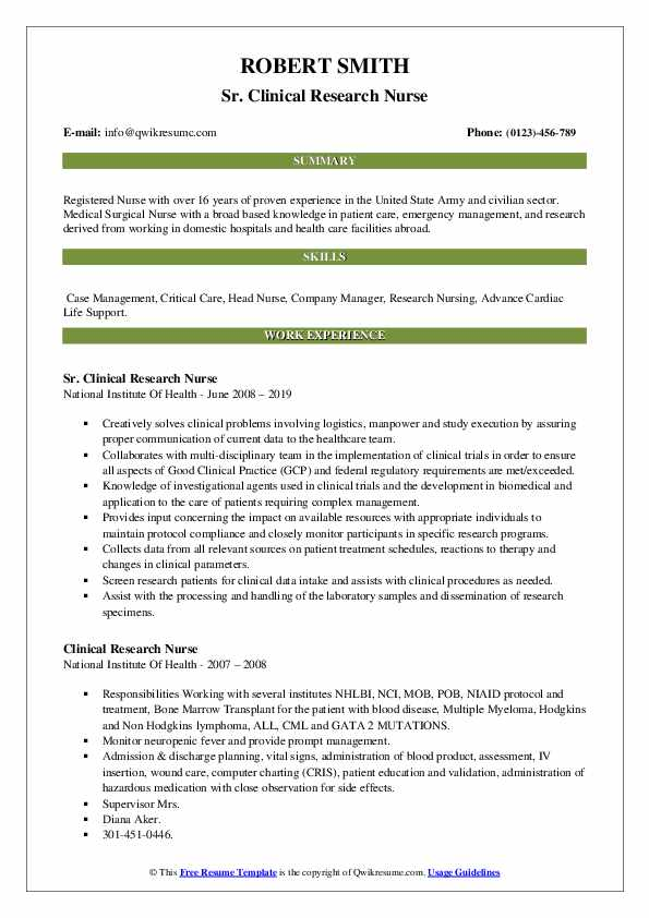 Sr. Clinical Research Nurse Resume Example
