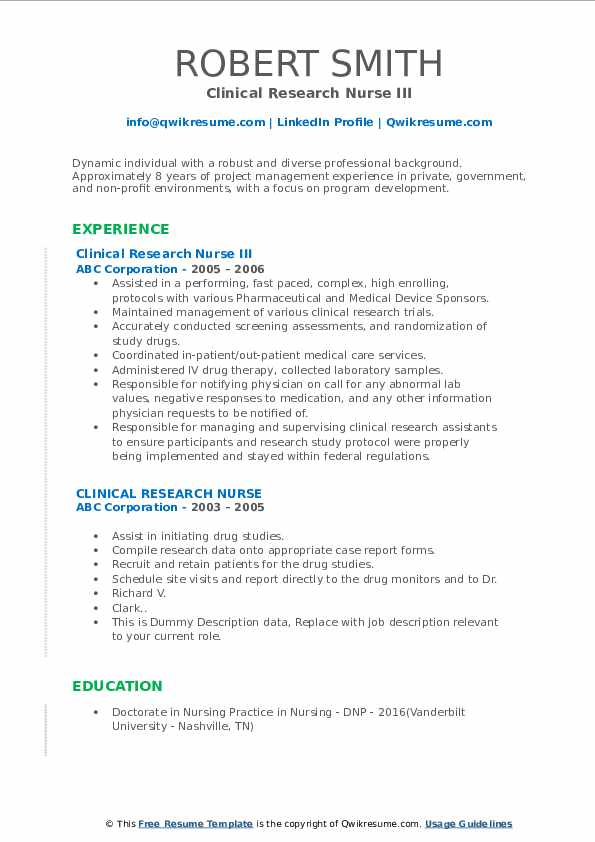 Clinical Research Nurse III Resume Model
