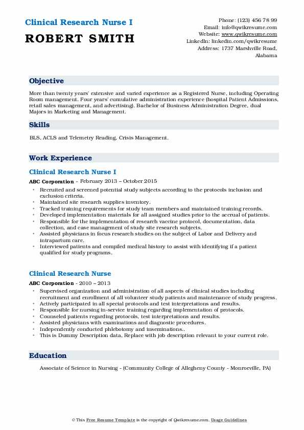 Clinical Research Nurse I Resume Model