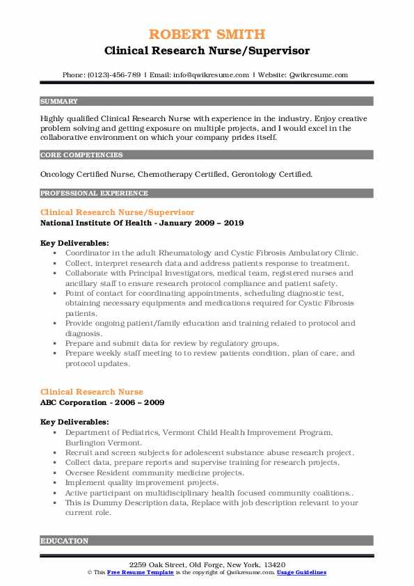 Clinical Research Nurse/Supervisor Resume Model