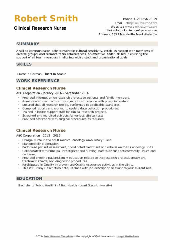 Clinical Research Nurse Resume example