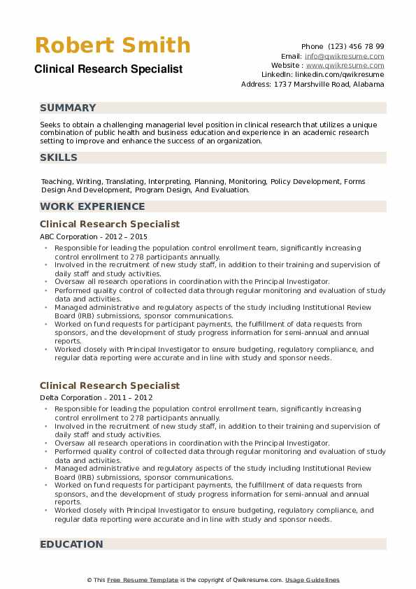 Clinical Research Specialist Resume example