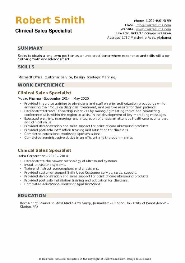 Clinical Sales Specialist Resume example