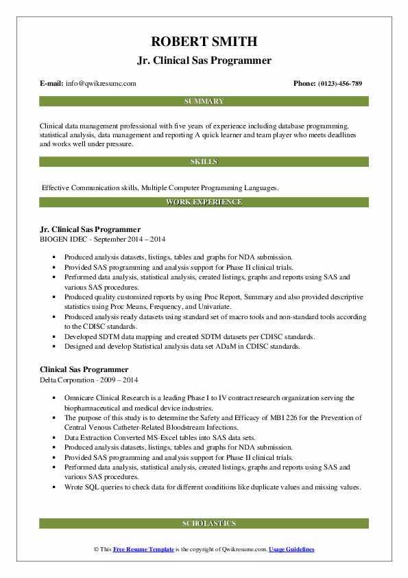 clinical sas programmer resume samples