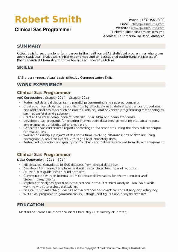 Clinical Sas Programmer Resume example