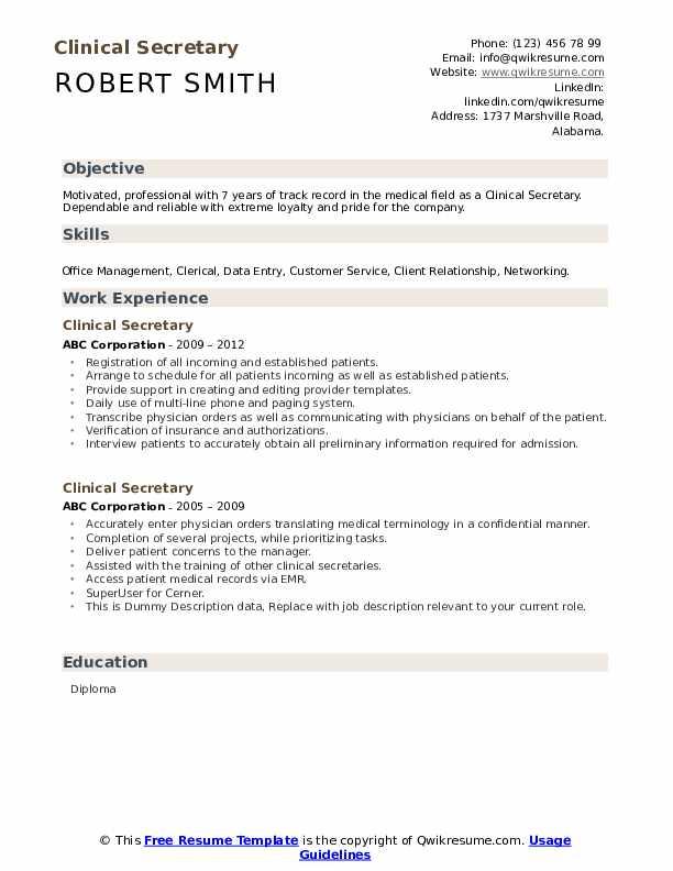 Clinical Secretary Resume example