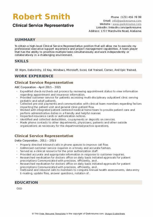 Clinical Service Representative Resume example