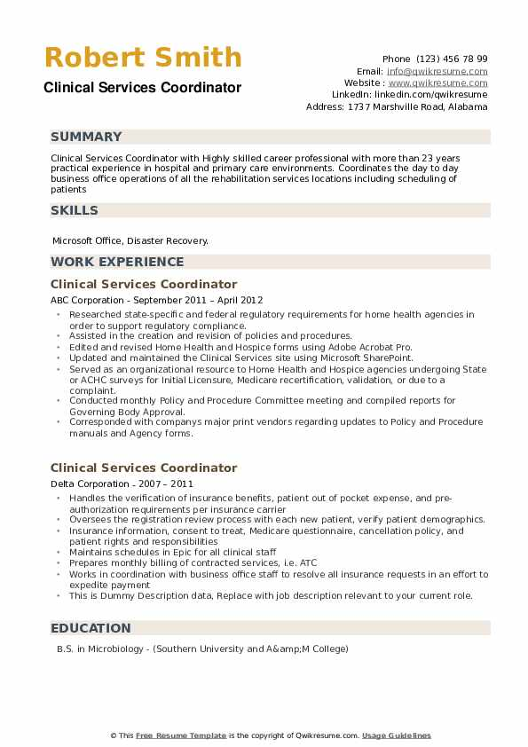 Clinical Services Coordinator Resume example