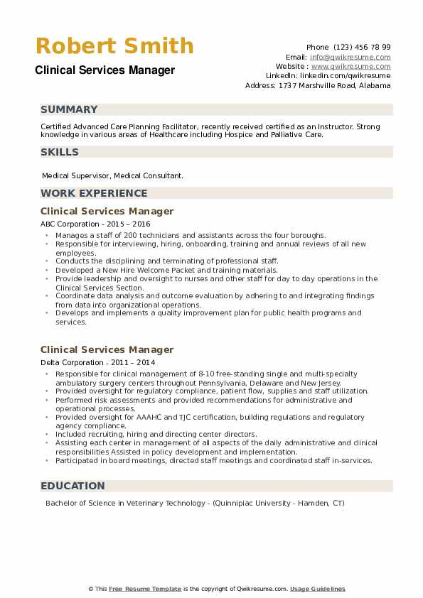 Clinical Services Manager Resume example