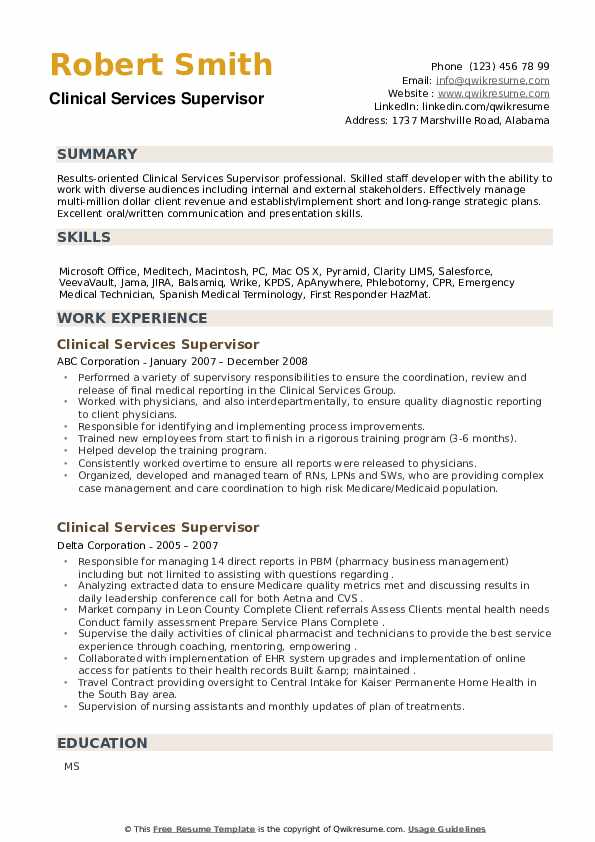 Clinical Services Supervisor Resume example