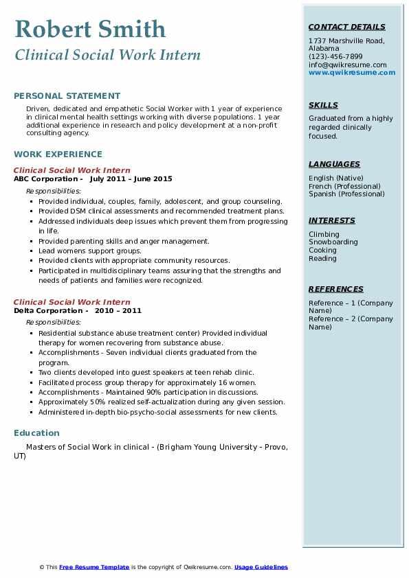 clinical social work intern resume samples  qwikresume