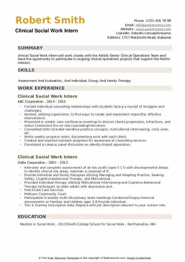 clinical social work intern resume samples