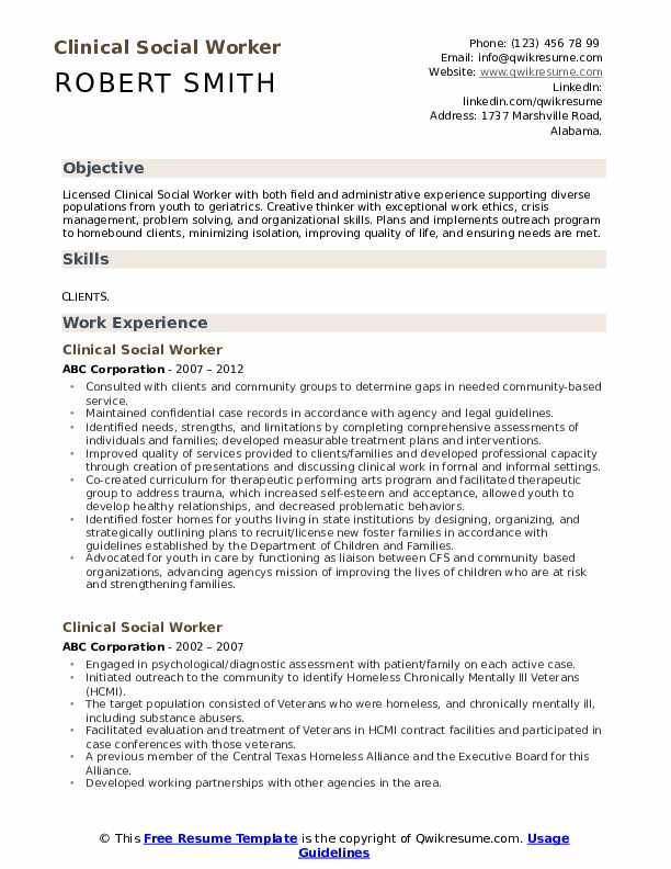 Clinical Social Worker Resume Format