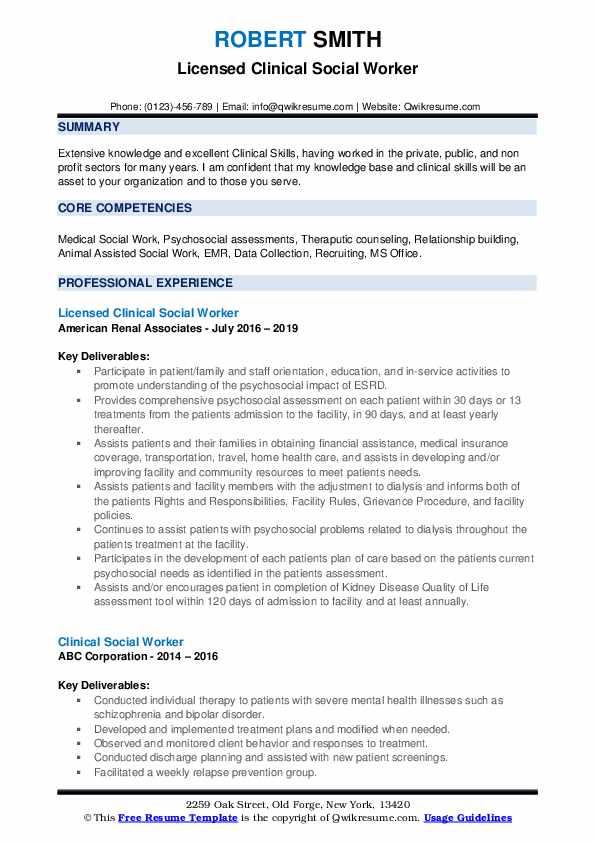 Licensed Clinical Social Worker Resume Sample