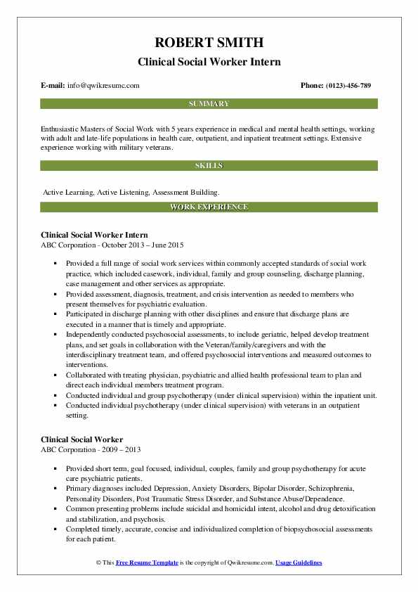 Clinical Social Worker Intern Resume Sample