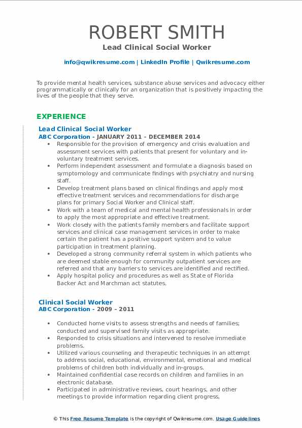 Lead Clinical Social Worker Resume Template