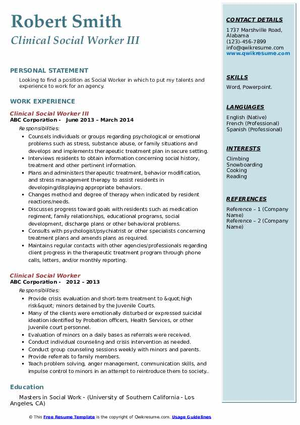 Clinical Social Worker III Resume Format