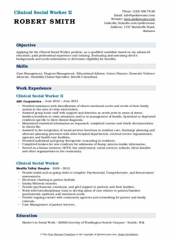Clinical Social Worker II Resume Sample