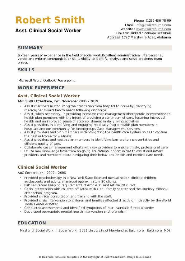 Asst. Clinical Social Worker Resume Format