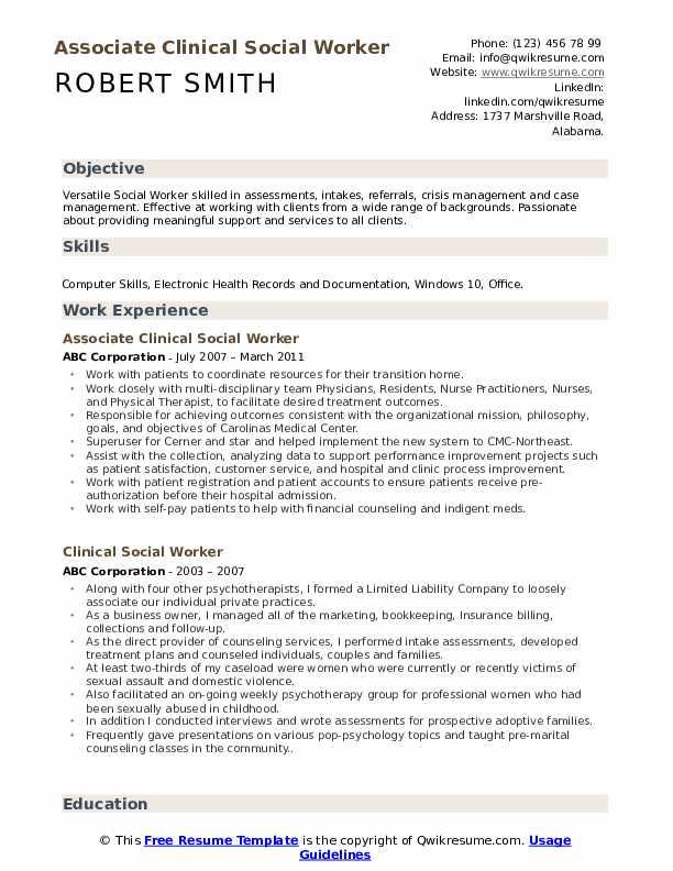 Associate Clinical Social Worker Resume Template