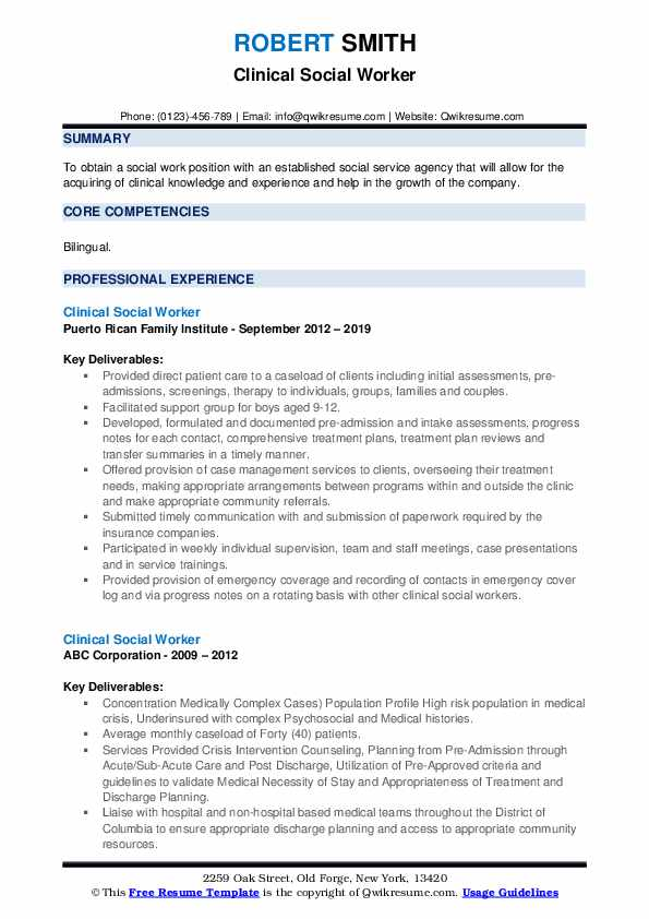 Clinical Social Worker Resume Samples | QwikResume