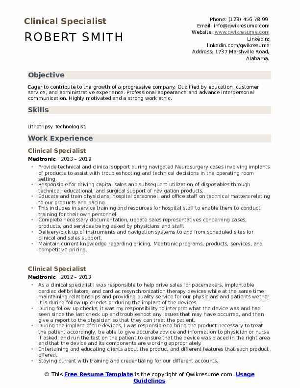 Clinical Specialist Resume Model