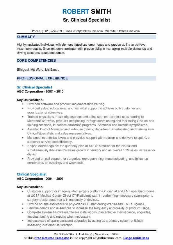 Sr. Clinical Specialist Resume Template