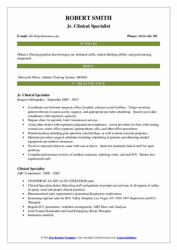 Jr. Clinical Specialist Resume Example
