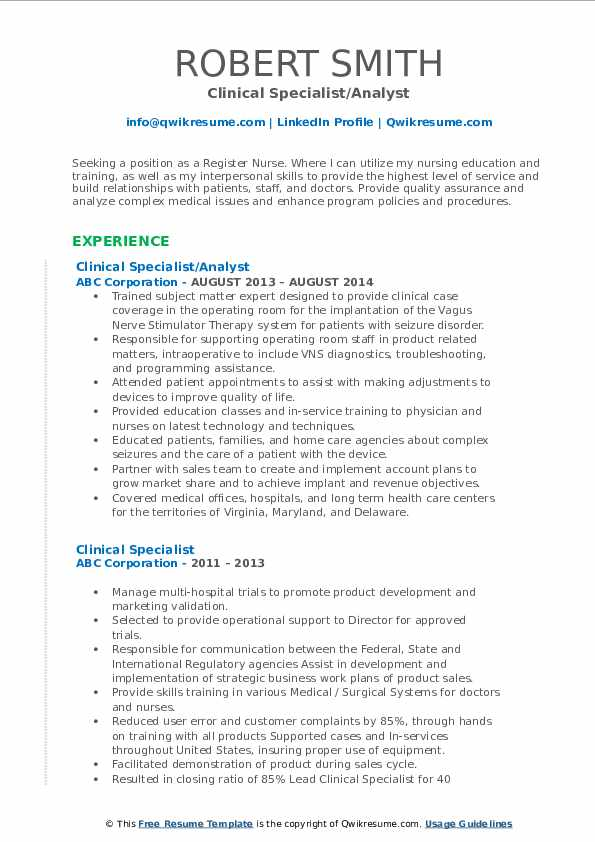 Clinical Specialist/Analyst Resume Template