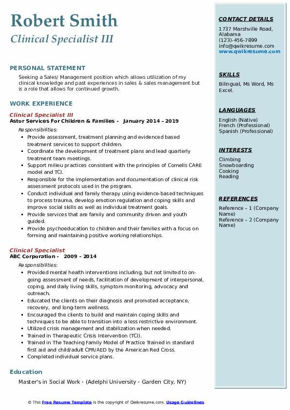 Clinical Specialist III Resume Sample
