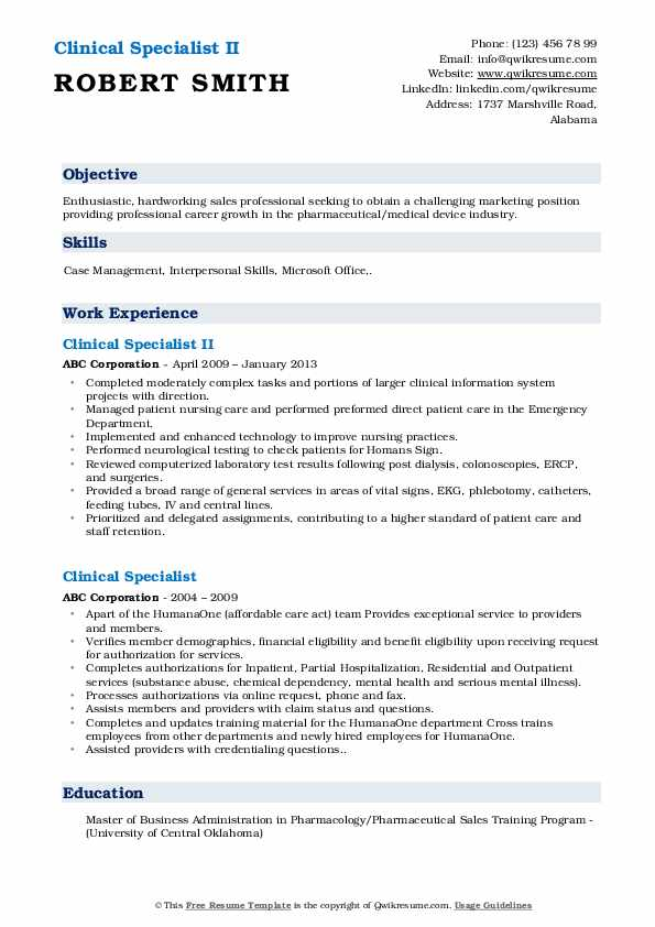 Clinical Specialist II Resume Sample