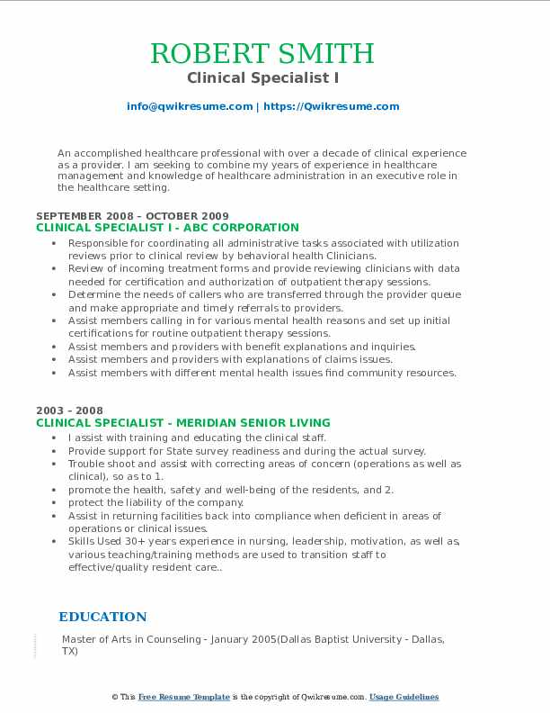 Clinical Specialist I Resume Example