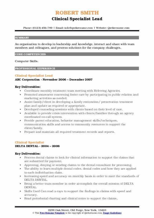 Clinical Specialist Lead Resume Example