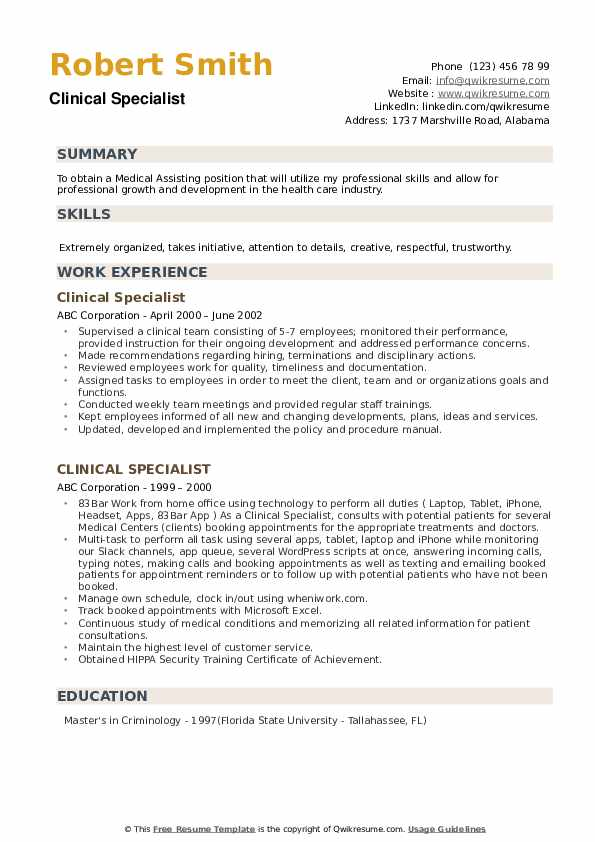 Clinical Specialist Resume example