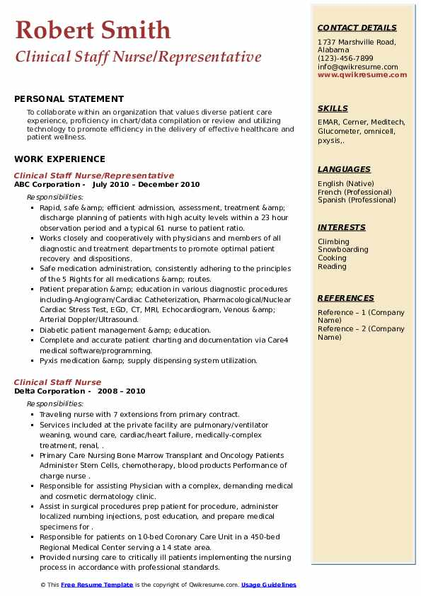 Clinical Staff Nurse Resume Samples Qwikresume