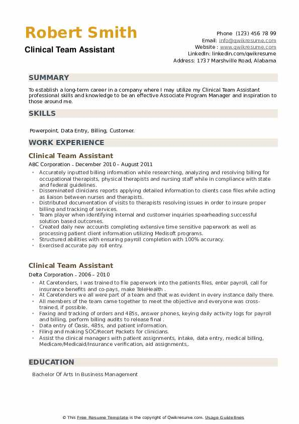 Clinical Team Assistant Resume example