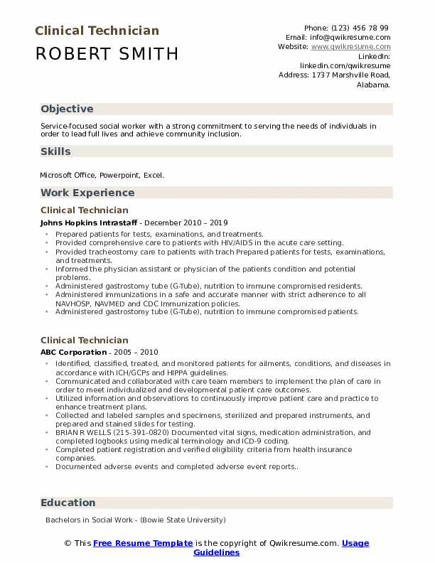 Clinical Technician Resume Format