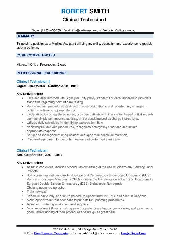 Clinical Technician II Resume Sample