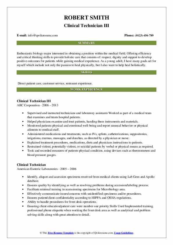 Clinical Technician III Resume Example