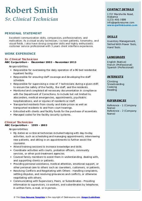 Sr. Clinical Technician Resume Format