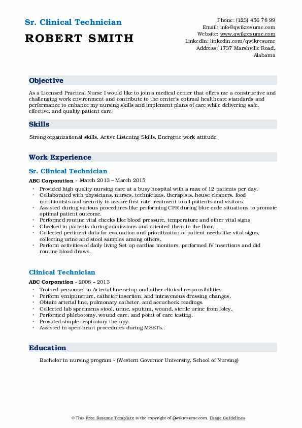 Sr. Clinical Technician Resume Sample